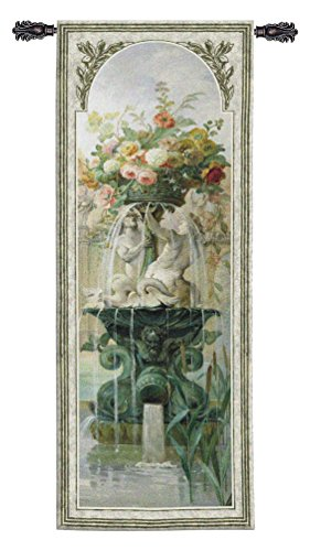 Scenic Panel Iv by Pierre-Victor Galland - Woven Tapestry Wall Art Hanging - French Floral Water Fountain - 100% Cotton - USA 79X31