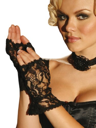 Black Lace Fingerless Gloves (Rubie's Costume Co Lace Fingerless Gloves Costume, Black)