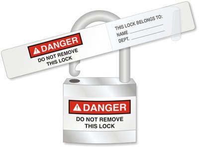 Danger: Do Not Remove This Lock, Adhesive Vinyl Labels, 25 Labels / Pack, 5'' x 0.75'' by LockoutTag