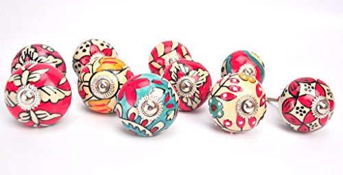 Porcelain Knob Bright Brass Cabinet - Karmakara Ornate Red Floral Ceramic Knobs For Cabinets & Cupboards - Hand Painted Pulls