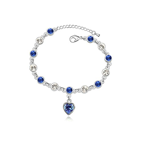 Beydodo White Gold Plating Bracelet For Women (Chain-Bracelets),Austria Crystal Love Heart Blue CZ 16CM