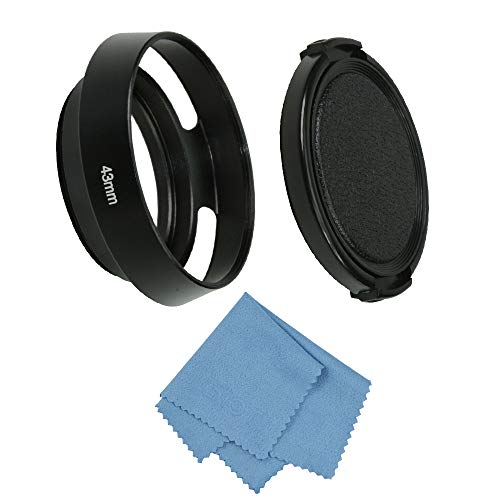 SIOTI Camera Vented Metal Lens Hood with Cleaning Cloth and Lens Cap for Leica/Fuji/Nikon/Canon/Samsung Standard Thread Lens (43mm, Standard Vented)