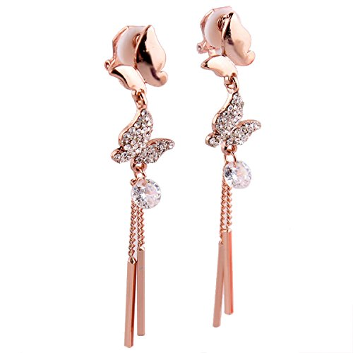Grace Jun Luxury Bridal S925 Sterling Silver AAA CZ Long Drop Earrings With Butterfly Clip on Earrings (Rose gold plated ear (Gold Plated Rhinestone Earrings Clips)