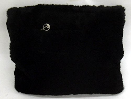 New York World's Fair fur hand muff with zippered pocket & metal logo -
