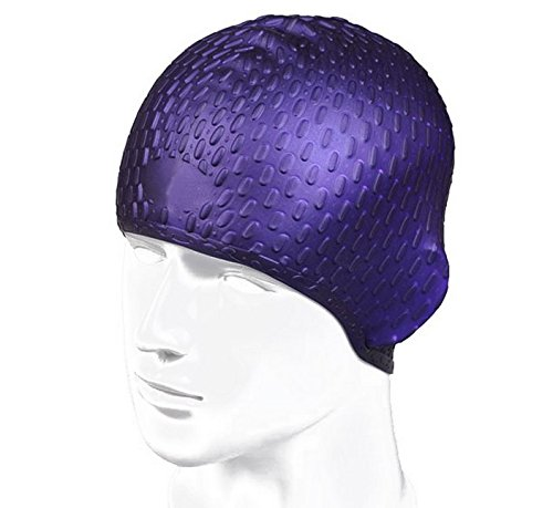Bubble Design Soft Silicom Waterproof Swimming Cap For Long Hair Women And Men  Purple