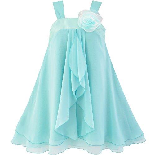 (JX87 Girls Dress A-line Halter Flower Multi Layer Chiffon Size 12 Light Cyan)