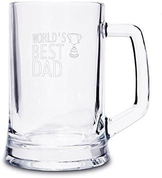 Jarra de cerveza de Paramount Buy World's Best Dad/Stepdad/Grandad (El mejor padre/padrastro/abuelo del munco) novedad, regalo ideal para el día del padre - Padre