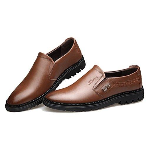 LYZGF Hommes Affaires Occasionnels Mode Paresseux Respirant en Cuir Chaussures De Sport Brown y7FS94