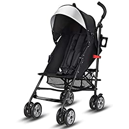 BABY JOY Lightweight Stroller, Aluminum Baby Umbrella Convenience Stroller, Travel Foldable Design with Oxford Canopy/ 5-Point Harness/Cup Holder/Storage Basket, Black