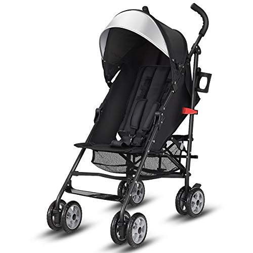 Stroller, Aluminum Baby Umbrella Convenience Stroller, Travel Foldable Design with Oxford Canopy/ 5-Point Harness/Cup Holder/Storage Basket, Black ()