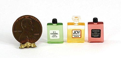 Miniature Perfume Bottle - Dollhouse Miniature 1:12 Scale Set of Three Bottles of Perfume