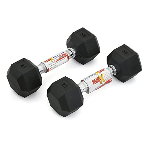 RUBX Rubber Coated Professional Exercise Hex Dumbbells (Pack of Two) (2.5)