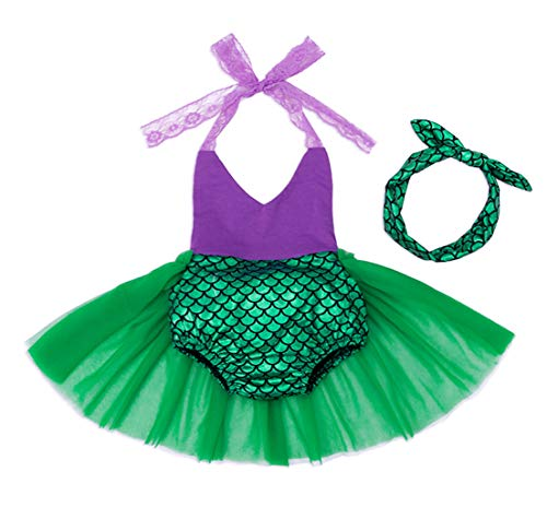 HenzWorld Little Mermaid Ariel Swimsuit Dress Up Bodysuit Beach Holiday Baby Girls Headband ()