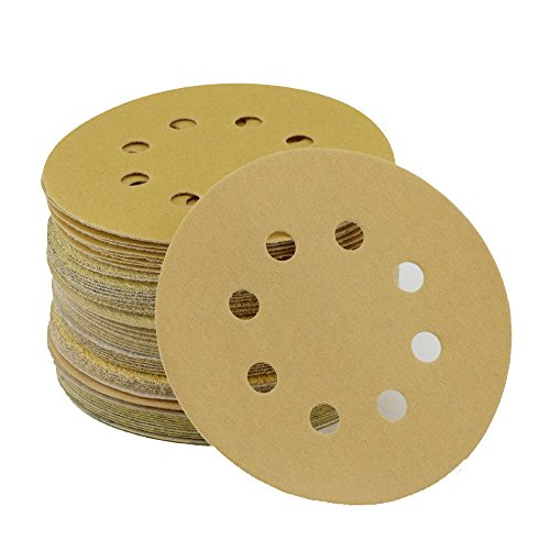 Anesty 5-Inch 8-Hole Gold Dustless Hook and Loop Sanding Discs 10 Each of 6 Grits 60 80 120 150 220 and 320