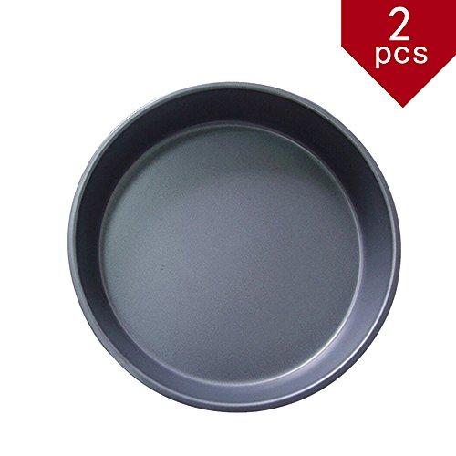 Kslong 2pcs Pizza Pan Round Bake Metal Pizza Plate Baking Non-stick Cake Chassis Bakeware Pans (9inch)