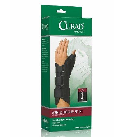 Curad Wrist & Forearm Splint with Abducted Thumb-Right Medium Black - 3PC