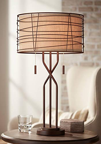 Marlowe Modern Table Lamp Metal Woven Bronze Burlap Drum Shade for Living Room Family Bedroom Bedside Nightstand