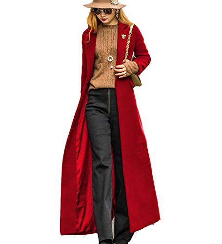 S&S-women Sweet Heart Solid Splicing Lapel Double Breasted Side Pocket Wool Pea Coat (Medium, Red-2)