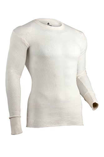 Indera Mens Traditional Long Johns Thermal Underwear Top, Natural, Medium