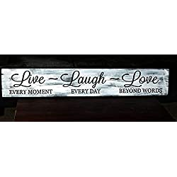 Littlecute Live Laugh Love Wood Sign Wooden Plaque Wall Decor Home Decoration - 8x48cm