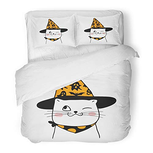(Emvency 3 Piece Duvet Cover Set Brushed Microfiber Fabric Breathable Animal Cute of Smile Cat in Halloween Day Doodle Style Bats Cartoon Celebration Bedding Set with 2 Pillow Covers King)