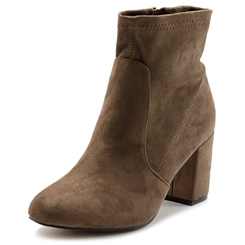 Platform Stack Heel Boots - Ollio Women's Shoe Faux Suede Side Zip up Stacked High Heel Ankle Boots MG51(6 B(M) US, Taupe)
