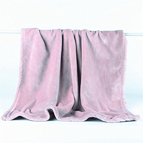 Znzbzt Flannel blanket quilt single dorm students extra thick blankets winter coral fleece bed pure color blanket ,150cmx200cm, and rose-colored powder 320g thick