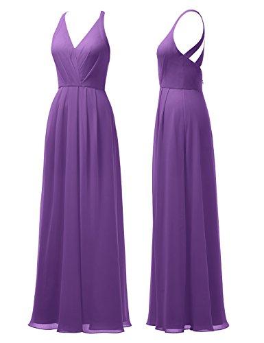 Dress Maxi Prom Evening V Bridesmaid Long Gown Dress Chiffon Neck Alicepub Purple Women's CtOqR