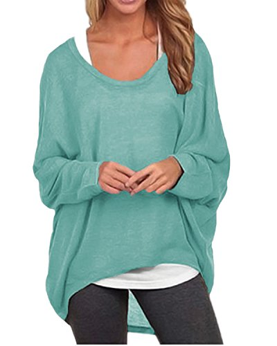 ZANZEA Women's Long Batwing Sleeve Loose Oversize Pullover Sweater Top Blouse Green US 10/Tag Size L ()