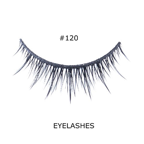 [BTArtbox 1 Pair #120 Black Wispies Cross Fake False Eyelashes Natural Look Glue Adhesive Eye Lashes Extention] (Cheap Hallowen Costumes)