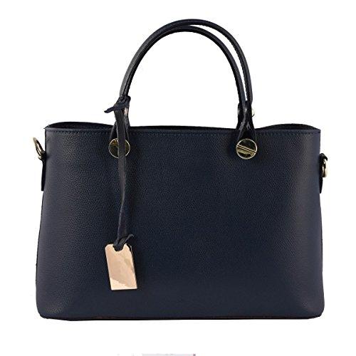 Piel Italia Color Mano Oscuro Peleteria Echa Azul Verdadera Mujer De En Bolso qWTxt7v