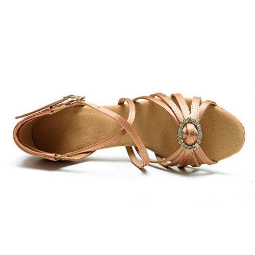Bcln Dames Open Teen Sandalen Latin Salsa Tango Hakken Oefenen Stijldansen Dansschoenen Met 2.75 Hak Tan