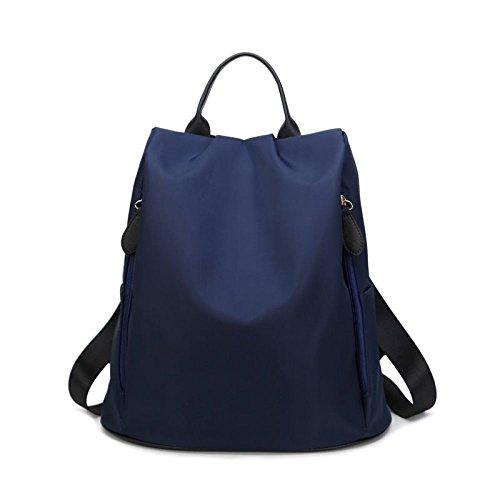 Mujer Mochila Bolso De Hombro De Nylon Con Cremallera De Moda Para Mujer Blue