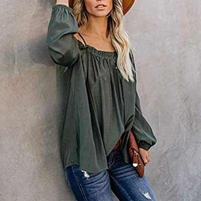 Sinfu Women's Pleated Off Shoulder Long Sleeves Hanging Bandwidth Loose Solid Casual Shirt Top Blouse: Clothing