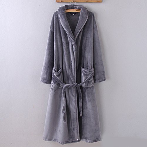 Size Nightgown Gray Soft Adult Zhhlaixing Long Plus Dark Unisex Luxury Lovers Sleepwear Coral velvet XwapzFq