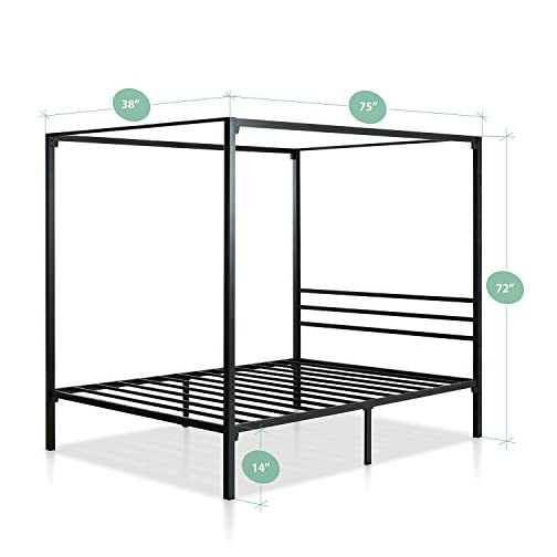 Zinus Patricia Metal Framed Canopy Four Poster Platform Bed Frame / Strong Steel Mattress Support / No Box Spring Needed…