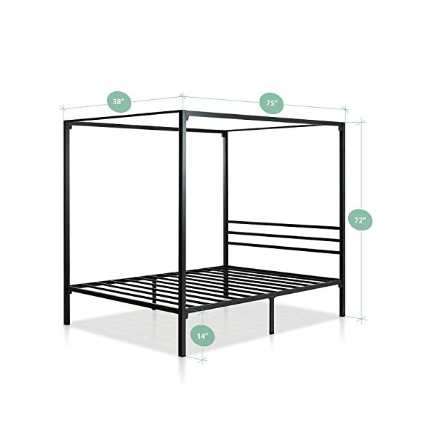 Zinus Patricia Metal Framed Canopy Four Poster Platform Bed Frame / Strong Steel Mattress Support / No Box Spring Needed, Twin 2