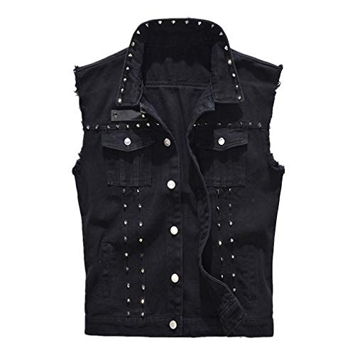 Mens Denim Vest Punk Rock Style Rivet Black Jeans Waistcoat Raw Edge Jacket 5XL