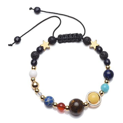 Lapis Star Bracelet (QGEM Natural Lava Rock Beads Universe Galaxy Solar System The Nine Planets Guardian Star Braid Bracelet)