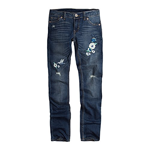 Levi's Big  Girls' 711 Skinny Fit Jeans , Rockabilly Embroidered, 14
