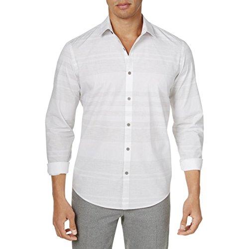Alfani Mens Striped Button-Down Dress Shirt White XXL