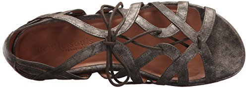 Gentle Orly Lace Souls Brown Dark Women's up Flat Sandal r4Wrpa7