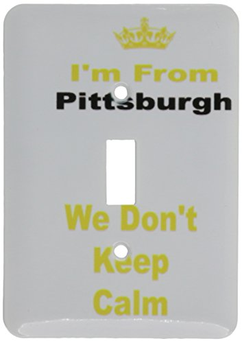 3dRose lsp_180044_1 Dont Keep Calm, Pittsburgh, Yellow and Black Letters on White Background Light Switch Cover