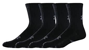 Under Armour 4-Prs. Crew Socks, BLACK, LG