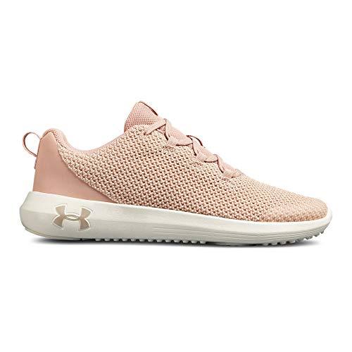 Under Armour Girls' Grade School Ripple Sneaker, Flushed Pink (600)/Ivory, 5.5