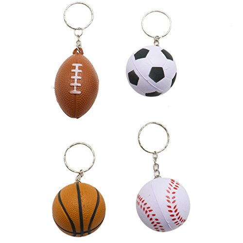 IDS 12 Pieces Mini Sports Balls Keychains for Kids Party Favors & School Carnival Prizes.