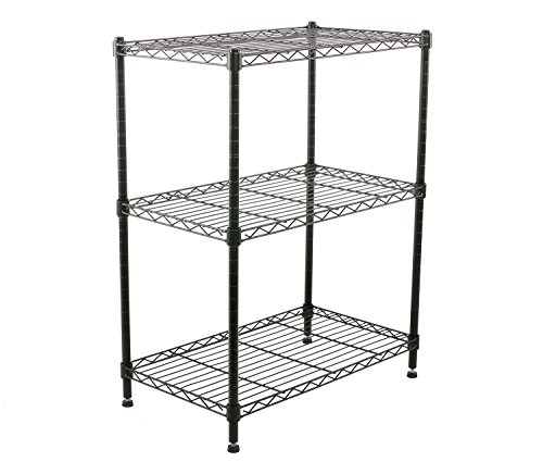 Finnhomy Supreme Steel Wire Shelving Unit with Stable Leveling Feet, 3 Shelves Wire Rack Shelving, Thicken Steel Tube Black (Leveling Feet With Wheels compare prices)