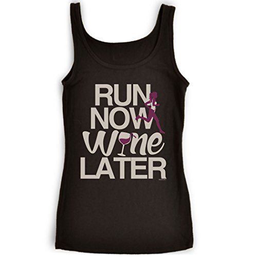Gone For a Run Womens Running Tank Top | Run Now Wine Later (Bold) | Adult Small | Black (Wine And Running compare prices)