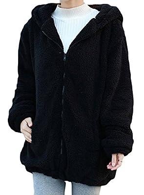 Women's Bear Ear Plush Hoodies Long Sleeve Zip Up Sweatshirt Fleece Jacket Coats