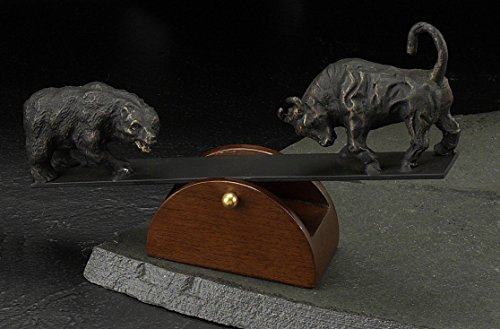 Saw Stock - See-Saw Stock Market Bull and Bear Sculpture - Figurine
